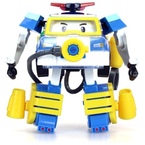 Трансформер Silverlit Robocar Poli 10 см с костюмом водолаза белый/синий/желтый трансформер silverlit robocar poli рой 10 см красный