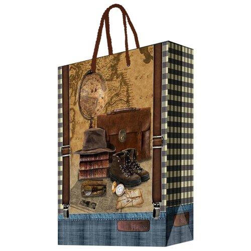 Пакет подарочный Феникс Present Сборы путешественника 40,6 х 48,9 х 19 см коричневый/синий цена 2017