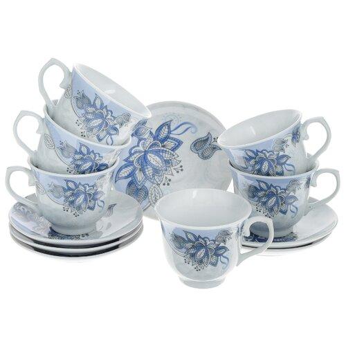 Чайный сервиз Loraine Цветы 25786 12 предметов 220 мл белый/синий бульонница loraine бабочка 580 мл