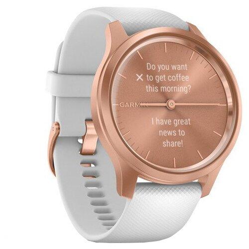 Умные часы Garmin Vivomove Style с силиконовым ремешком, белый/золотистый умные часы garmin vivomove luxe с кожаным ремешком черный золотистый