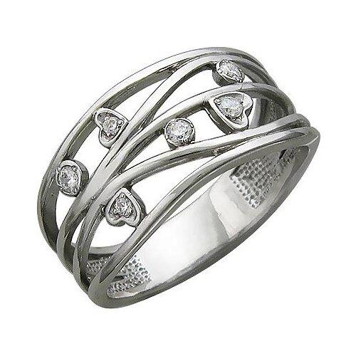 Эстет Кольцо с 6 фианитами из серебра У15К156243, размер 16.5