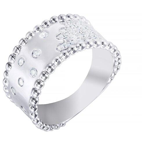 ELEMENT47 Широкое ювелирное кольцо из серебра 925 пробы с кубическим цирконием GR02268A_KO_001_WG, размер 18