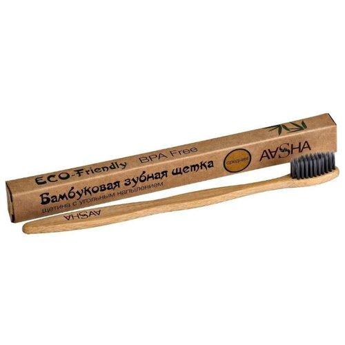 Зубная щетка Aasha Herbals бамбуковая средняя, натуральный