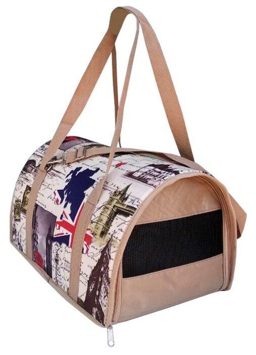 Переноска-сумка для кошек и собак Теремок ДР-1 40х23х24 см бежевые города