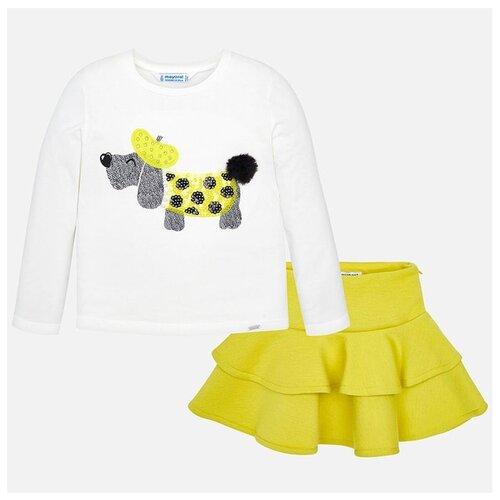 Комплект одежды Mayoral размер 110, белый/желтый комплект одежды mayoral размер 110 белый зеленый
