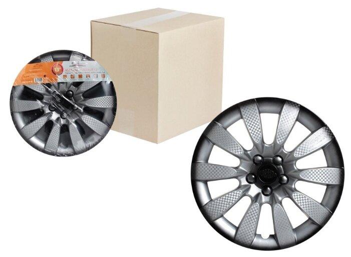 """Колпаки колесные 16"""" """"Лион Т"""", серебристый/черный, карбон, компл. 2 шт.(AWCC-16-28)"""