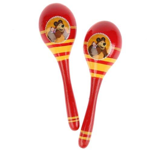 Купить Играем вместе маракас Маша и Медведь HLJ180108-1 красный/желтый, Детские музыкальные инструменты