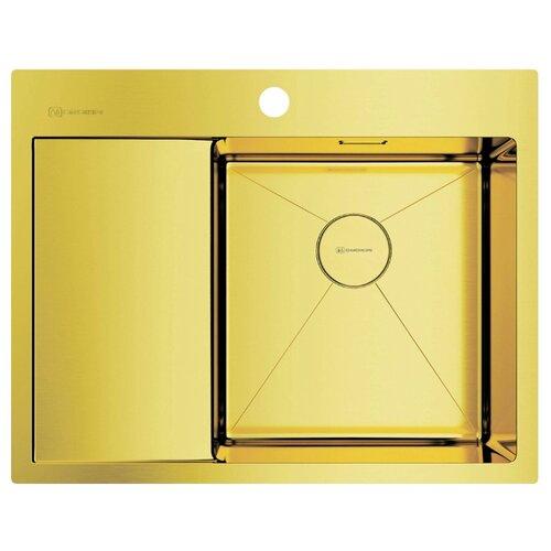 Фото - Врезная кухонная мойка 65 см OMOIKIRI Akisame 65-IN-LG-R светлое золото врезная кухонная мойка 65 см omoikiri akisame 65 in r нержавеющая сталь