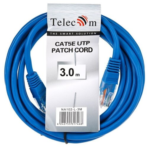 Купить Патч-корд Telecom NA102-L-3M RJ-45 (M) - RJ-45 (M) 3 м CAT5e синий