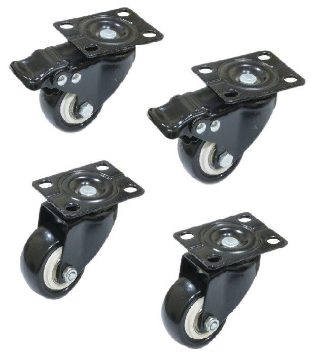 Купить Набор 4 шт Колесо черная резина поворотное 40 мм с тормозом/без тормоза, металл (8,15,25) по низкой цене с доставкой из Яндекс.Маркета (бывший Беру)