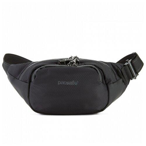 Сумка поясная PacSafe, текстиль, черный сумка поясная kite время и стекло vis19 2562 текстиль