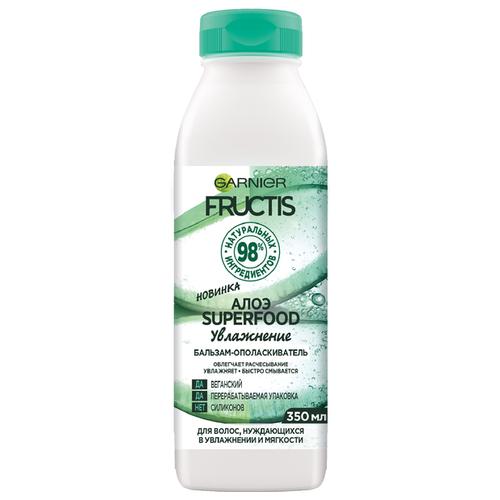 Купить GARNIER бальзам-ополаскиватель Fructis Superfood Алоэ Увлажнение для волос, нуждающихся в увлажнении и мягкости, 350 мл