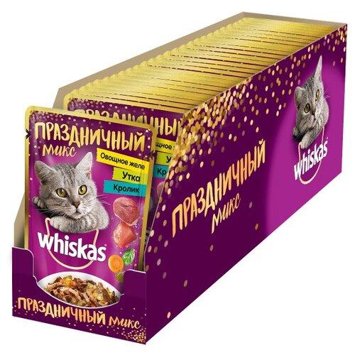 Фото - Влажный корм для кошек Whiskas Праздничный микс, с уткой, с кроликом 24 шт. х 85 г (кусочки в желе) влажный корм для котят whiskas беззерновой с телятиной 24шт х 85 г кусочки в желе
