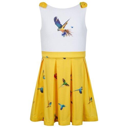 Платье Lapin House размер 140, белый/желтый
