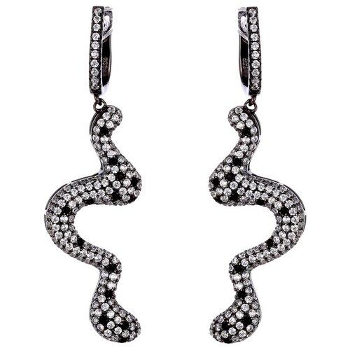 JV Серьги с фианитами из серебра WE23608-BM-001-BLK jv женское серебряное кольцо с куб циркониями в позолоте wr22790 bm 001 vr 16 5