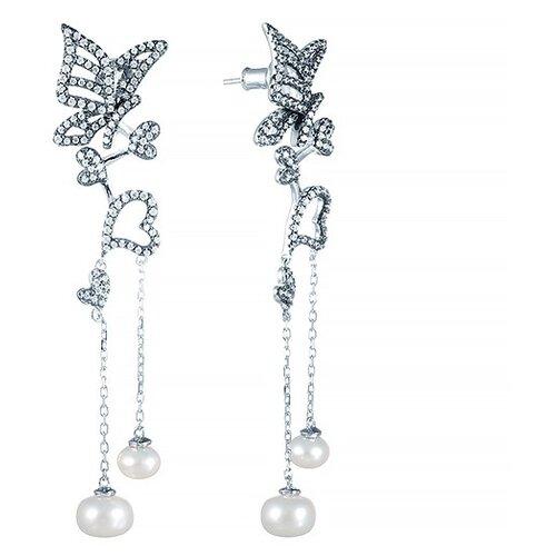 JV Серебряные серьги с жемчугом, фианитом E26795-R1-SR-WP-001-WG