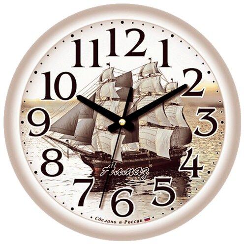 Часы настенные кварцевые Алмаз E28 серый часы настенные кварцевые алмаз e66 серый