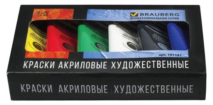 Купить BRAUBERG Краски акриловые Профессиональная серия 6 цветов х 75 мл (191121) по низкой цене с доставкой из Яндекс.Маркета (бывший Беру)