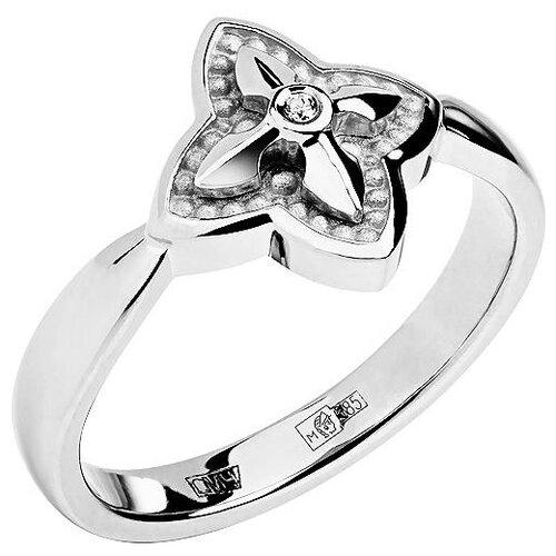 Эстет Кольцо с 1 бриллиантом из белого золота 01К628744, размер 16.5