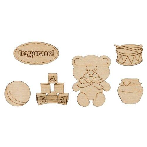 Купить Mr. Carving Набор заготовок для декорирования Мишка ВД-705 (6 шт.) бежевый, Декоративные элементы и материалы
