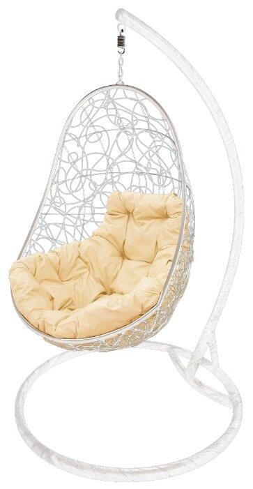 """Купить Белое кресло подвесное """"овал"""" с ротангом, с бежевой подушкой по низкой цене с доставкой из Яндекс.Маркета"""