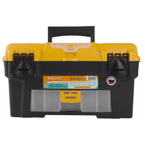 Ящик с органайзером Sturm! TBPROF18 43x23.5x25 см 18'' черный/желтый ящик с органайзером stanley mega line cantilever 1 92 911 49 5x26 1x26 5 см черный желтый