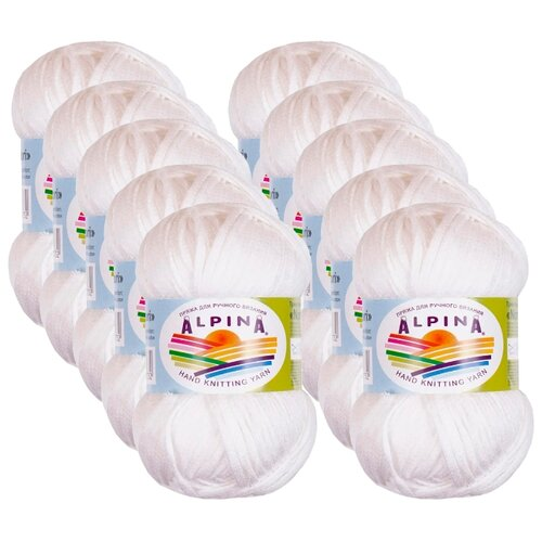 Пряжа Alpina Nori, 44 % хлопок, 56 % акрил, 50 г, 100 м, 10 шт., №02 белый