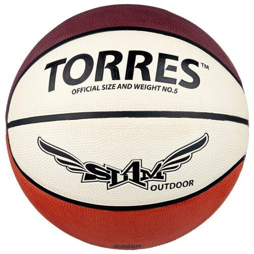 Баскетбольный мяч TORRES Slam, р. 5 бежевый/бордовый/оранжевый