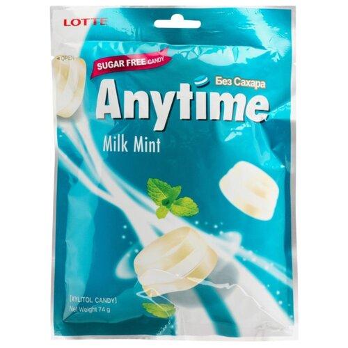 Карамель леденцовая Lotte Anytime Молоко и мята с ксилитолом 74 г