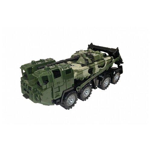 Набор техники Нордпласт Военный тягач Щит с танком (258/1) 56 см камуфляж