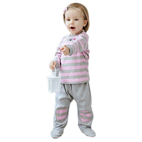 Купить Ползунки Лапушка размер 68, серый / розовый