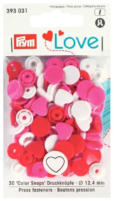 Prym Кнопки непришивные Love - Color Snaps сердце (3930**), 12.4 мм, 30 шт.