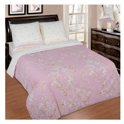 постельное белье luxe dream elite розово кремовый светло серебряный евро стандарт Постельное белье/Сакура (Поплин-De Luxe)/АртПостель/Евро