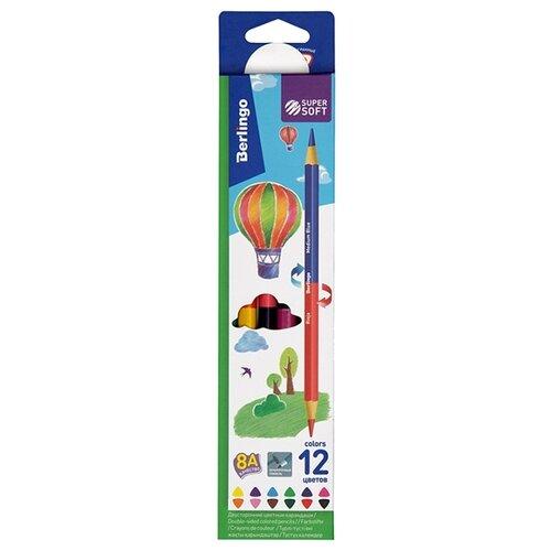 Фото - Berlingo Карандаши цветные двусторонние SuperSoft Duo 12 цветов (SSD0112) berlingo карандаши цветные пластиковые цирк 18 цветов cp 04812