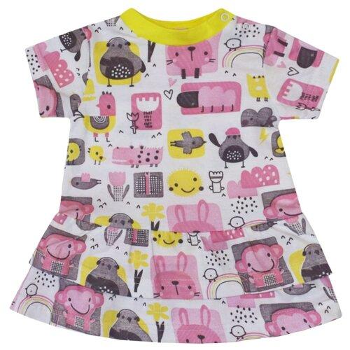 Платье KotMarKot Colour bunny размер 92, белый/желтый/розовый
