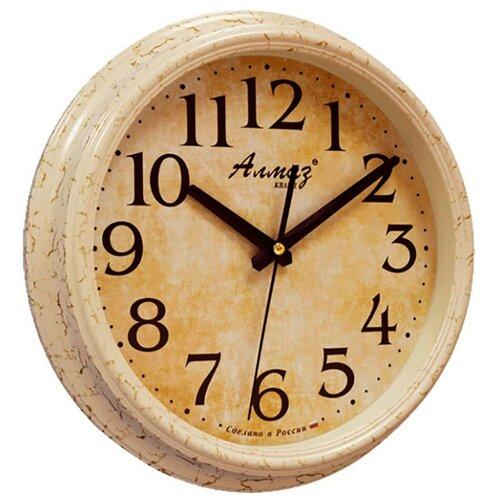 Часы настенные кварцевые Алмаз A95/A96 бежевый часы настенные кварцевые алмаз c25 розовый бежевый