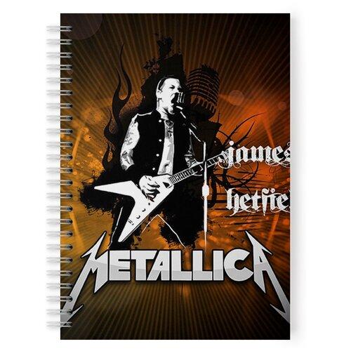 Купить Тетрадь 48 листов в клетку с рисунком METALLICA James Hetfield c гитарой, Drabs, Тетради