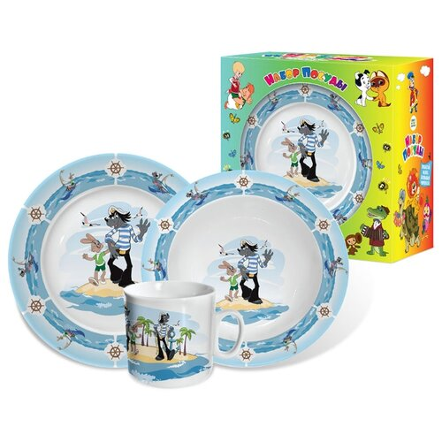 Столовый сервиз PRIORITY Ну,погоди! 3 предмета слоновая кость, синий, голубой сервиз столовый lefard 23 предмета с узором