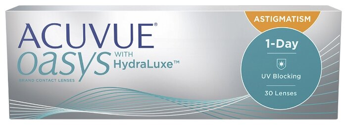 Контактные линзы Acuvue OASYS 1-Day with HydraLuxe for Astigmatism (30 линз) R 8,5 D -1,5 CYL -0,75 AX 20