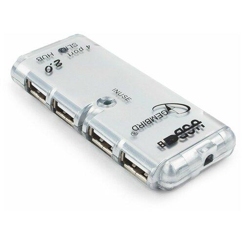 USB-концентратор Gembird UHB-C244, разъемов: 4, серебристый