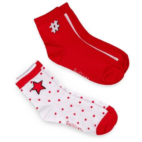 Носки Gulliver Baby комплект 2 пары размер 22-24, красный/белый