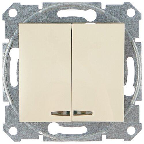 Выключатель 2х1-полюсный Schneider Electric SEDNA SDN0300347,10А, бежевый выключатель 2х1 полюсный schneider electric sedna sdn0300321 10а белый