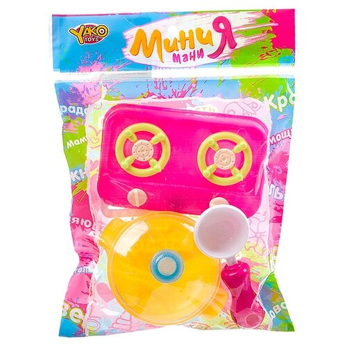 Купить Набор посуды Yako Мини мания Д93783 розовый/желтый, Игрушечная еда и посуда