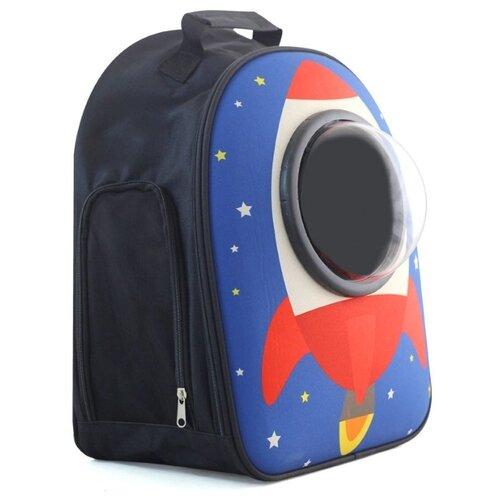 Рюкзак-переноска для собак Triol Ракета 23х32х45 см красный/ракета