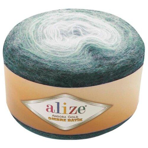 Купить Пряжа Alize Angora Gold Ombre Batik, 20 % шерсть, 80 % акрил, 150 г, 825 м, 7230 зеленый