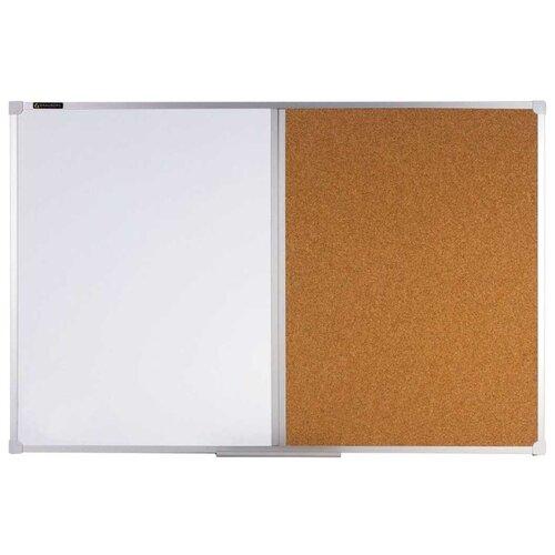 Доска комбинированная магнитно-маркерно-пробковая BRAUBERG 236864 (60х90 см) коричневый/белый