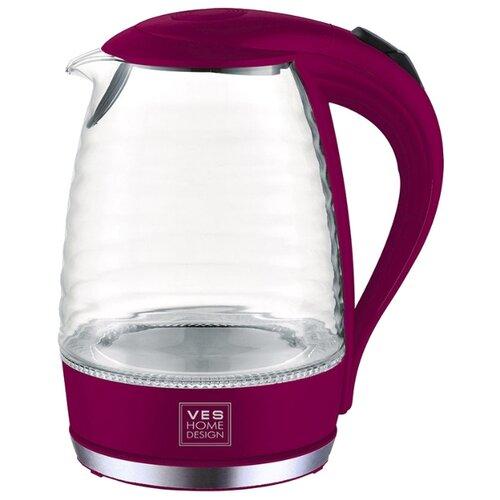 Чайник VES electric H-169, бордовый чайник ves electric 2100 белый
