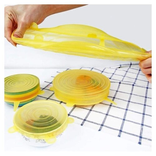 Набор силиконовых крышек 6 шт, желтый, Kitchen Angel KA-LID-03 крышка kitchen angel ka lid 05 зеленый
