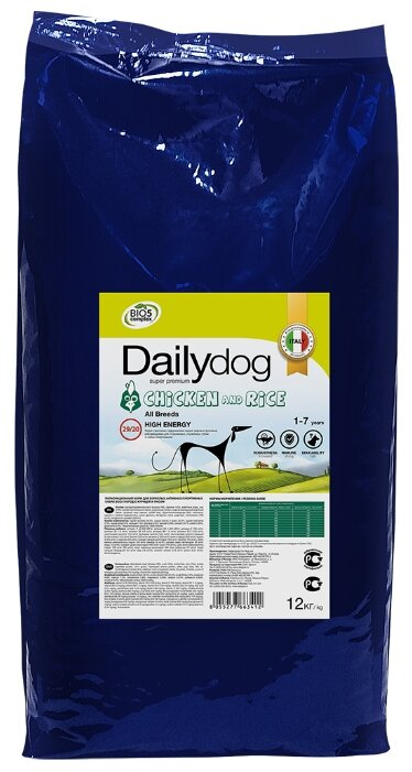 Корм для собак Dailydog Adult All Breeds Chicken and Rice курица с рисом 12 кг