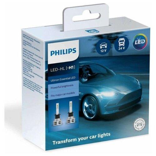 Лампы автомобильные Philips H1 12/24V-LED (P14,5s) 6500K 19W Ultinon Essential LED (к.уп.2 шт.)